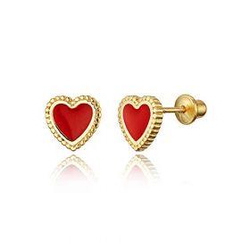 14k Gold Plated Enamel Heart Baby Girls Screwback Earrings with Sterling Silver Post
