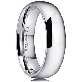 King Will Basic 7mm Stainless Steel Ring Original Color Full High Polished with Laser Etched I Love You(7.5)