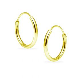 Silverline Jewelry Sterling Silver Yellow Gold Flashed Endless Round Unisex Hoop Earrings Size 14mm