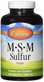 Carlson Labs MSM Sulfur, MSM 1000 mg, Sulfur 330 mg, 180 Capsules