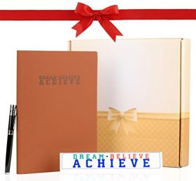 Leather Notebook Journal, Table Sign and Pen - Motivational Birthday, Anniversary, Graduation and Team Celebration