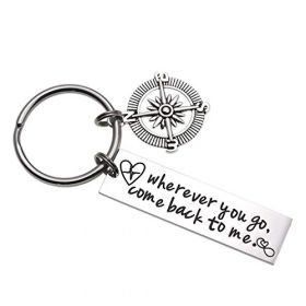 Wherever You Go Come Back to Me Graduation Gift Friend Gift College Gift Moving Gift Deploying Partner Boyfriend Girlfriend Husband Wife Gifts (Compass)