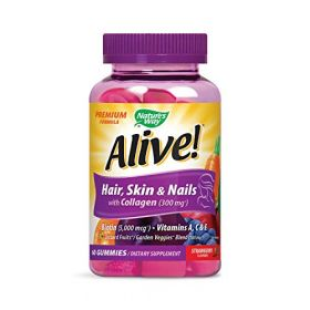 Alive! Premium Hair, Skin and Nails Multivitamin with Biotin and Collagen, 60 Count