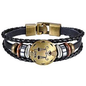 OIDEA Mens Womens Punk Multi-Layer Libra Zodiac Signs Constellation Astrology Braided Leather Cuff Bracelet,Black