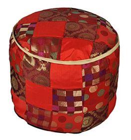 Lalhaveli Decorative Handmade Patchwork Design Silk Ottoman Cover 17 X 17 X 13 Inches
