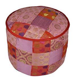 Lalhaveli Silk Ottoman Cover 17 X 17 X 13 Inches