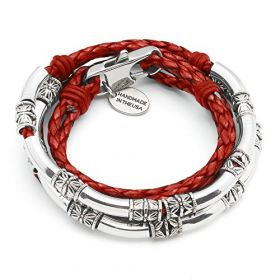 Mini Maxi Silver Plated Braided Leather Wrap Bracelet in Gloss Red Leather (MEDIUM)