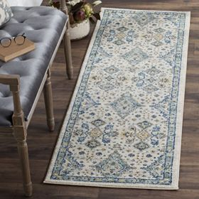"""Safavieh Evoke Collection EVK224C Contemporary Ivory and Light Blue Runner (2'2"""" x 7')"""