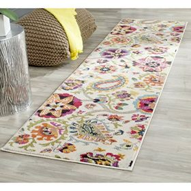 """Safavieh Monaco Collection MNC229A Modern Colorful Floral Ivory and Multicolored Runner (2'2"""" x 6')"""